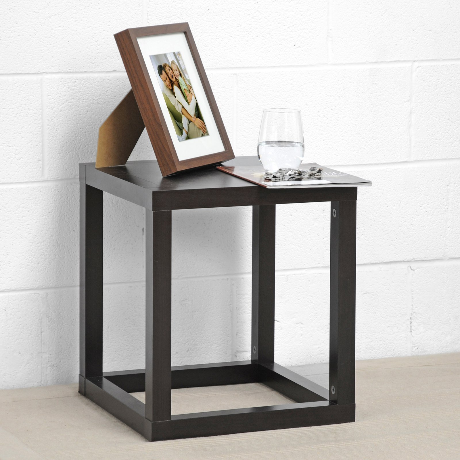Hallis Brown Modern Accent Table and Nightstand by Baxton Studio
