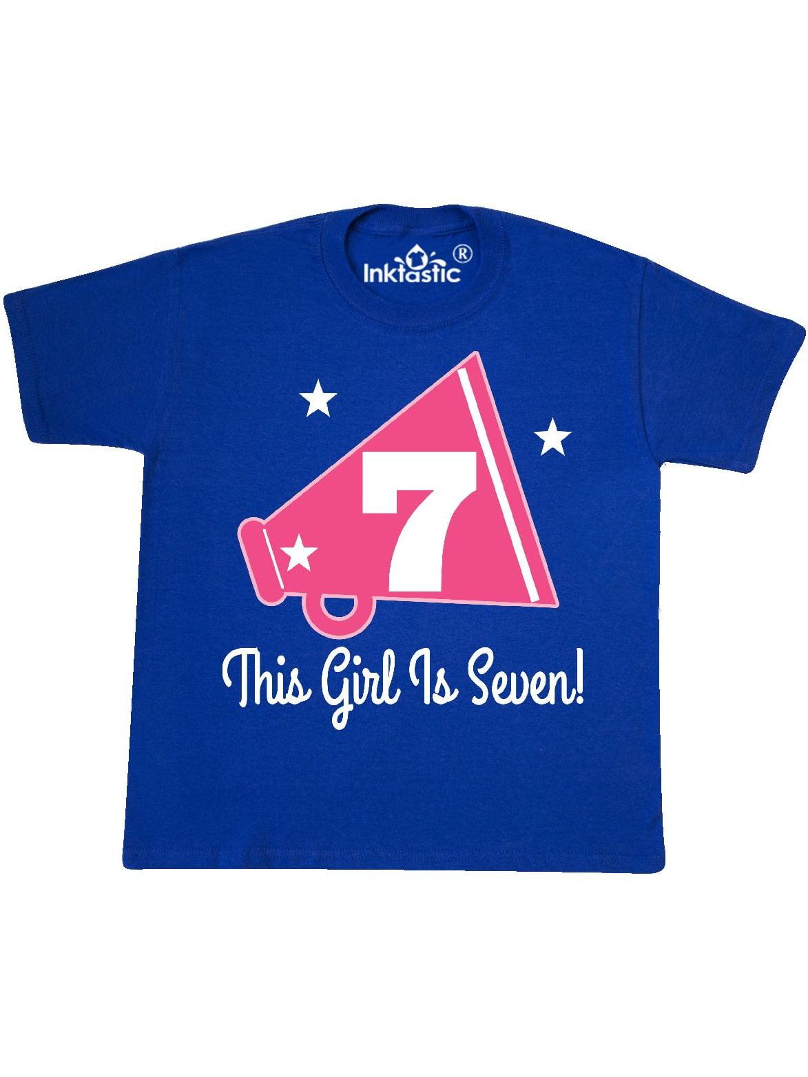 7th Birthday Girls Cheerleading 7 Year Old Youth T-Shirt