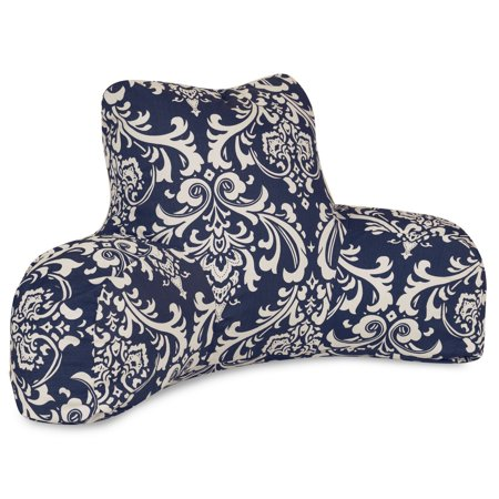 Majestic Home Goods Indoor Outdoor Navy French Quarter Reading Pillow with Arms Backrest Back Support for Sitting 33 in L x 6 in W x 18 in H