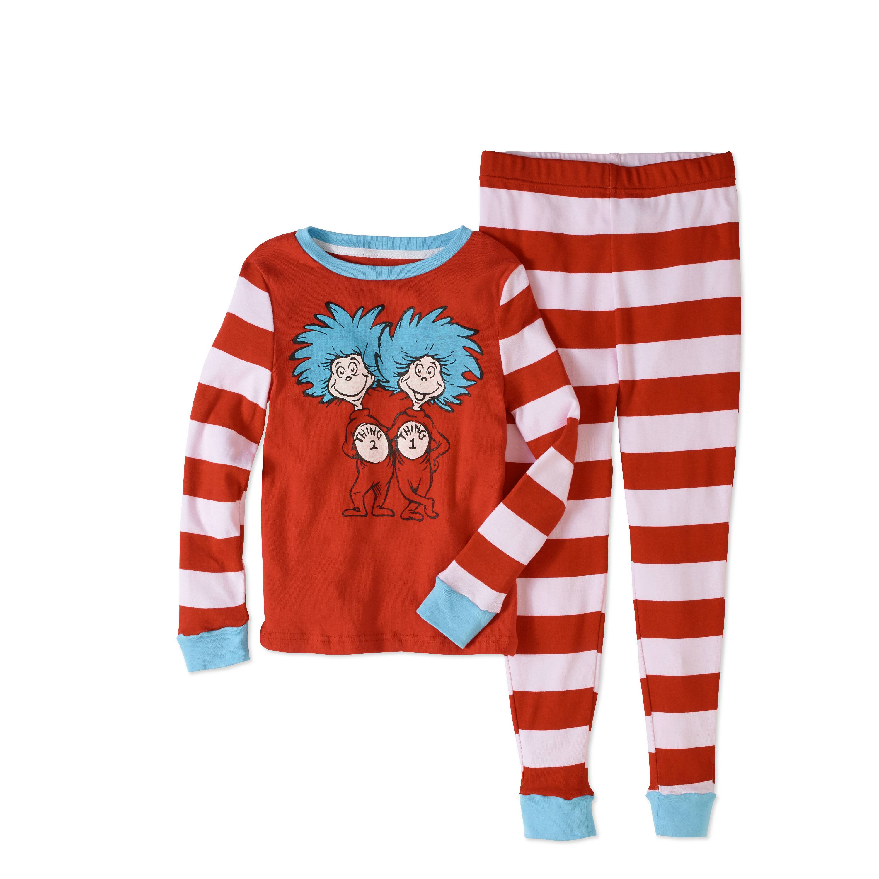 Dr Seuss Girls' Thing 1 and Thing 2 Tight Fit Pajama 2pc Sleepwear Set