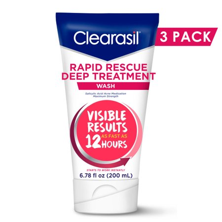 Acne Treatment Face Wash - Clearasil Rapid Rescue Deep Treatment Wash with Salicylic Acid Acne Medication for Maximum Strength to Clear Acne, 6.78 FL OZ (3 Pack)