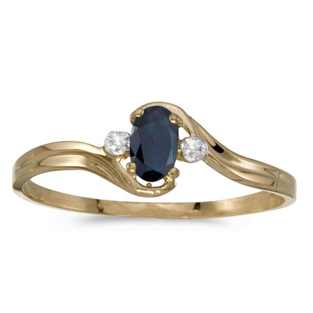 10k Yellow Gold Oval Sapphire And Diamond Ring 10k Yellow Gold Sapphire Ring