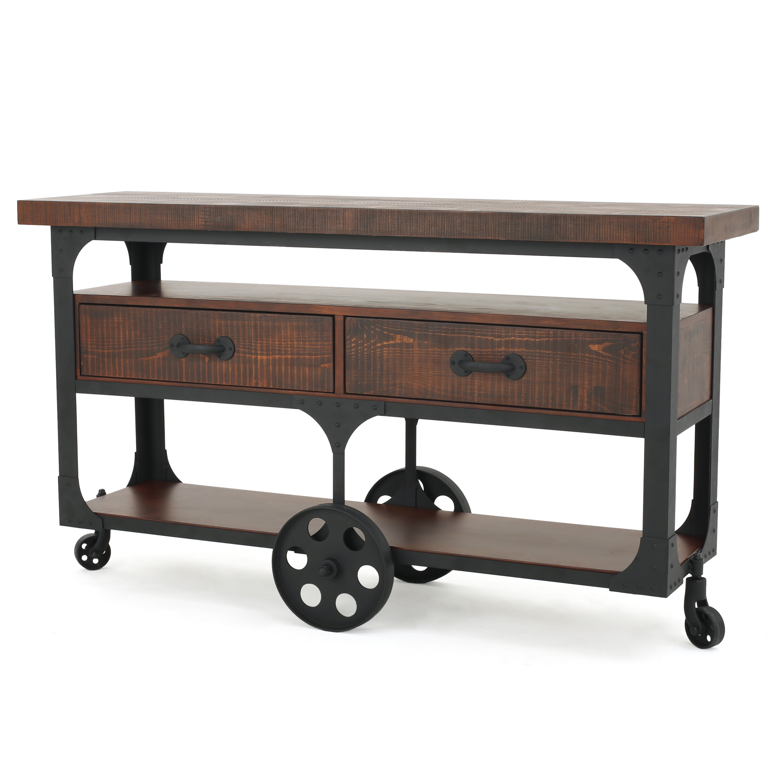 Anglia Wood TV Console with Drawers, Dark Brown