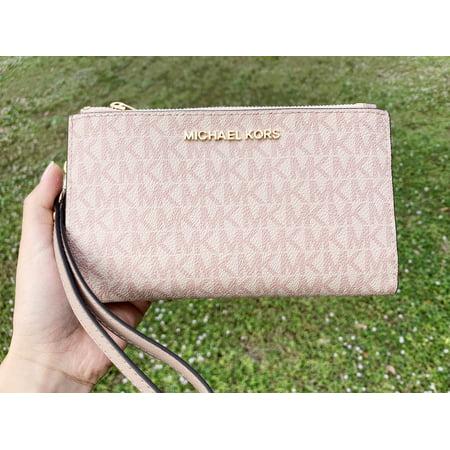 Michael Kors Jet Set Double Zip Wristlet Phone Wallet Fawn MK Signature Ballet Canvas Double French Wallet