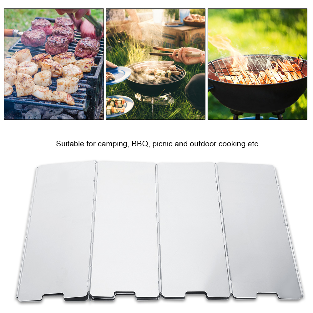 Foldable 15 Plate Burner Windshield For Outdoor Camping BBQ Cooking Picnic Stove