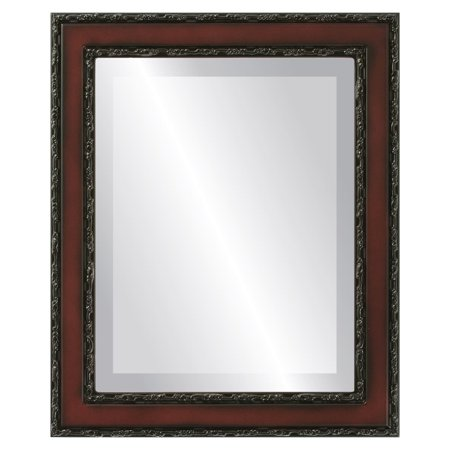 - The Oval and Round Mirror Store Monticello Framed Rectangle Mirror in Rosewood - Red