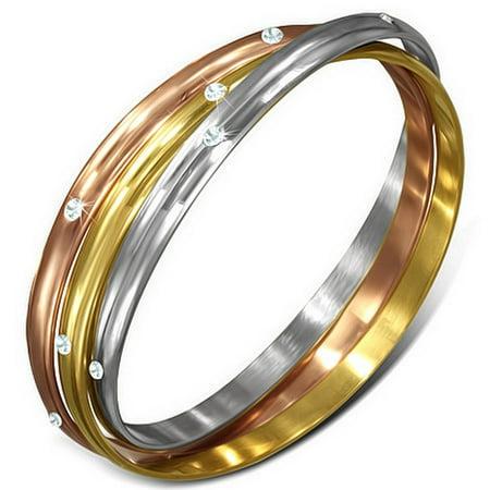 - Stainless Steel Yellow Rose Gold Silver-Tone White CZ Three Interlocked Womens Bangle Bracelet Set