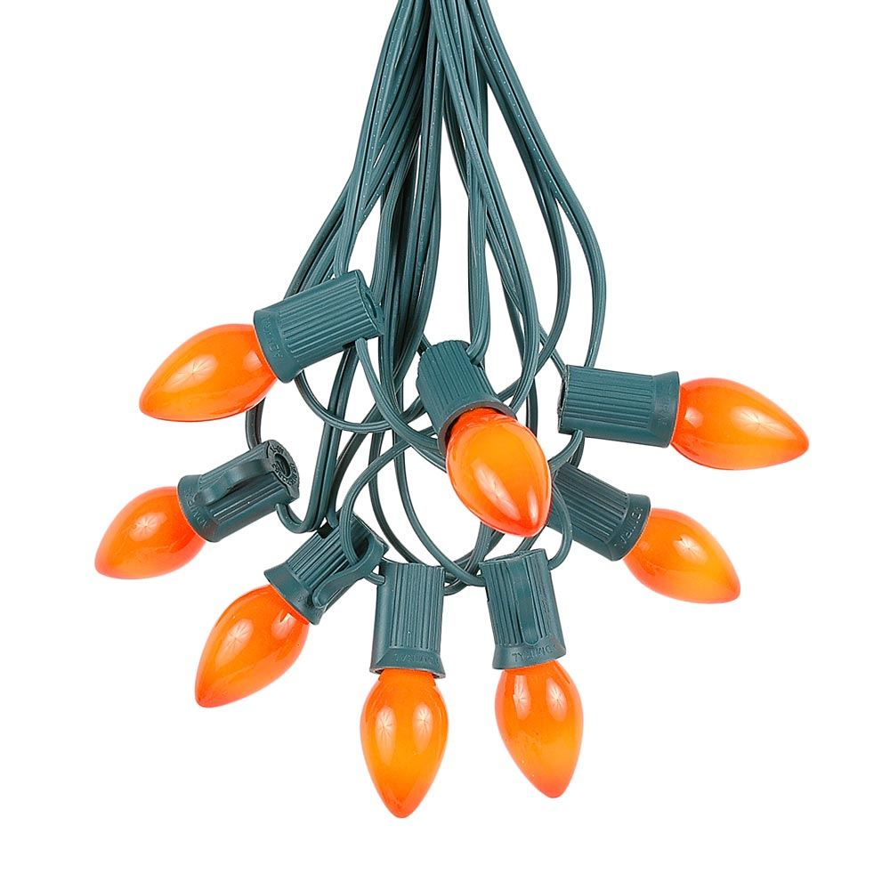 Novelty Lights C7 Ceramic Christmas Lights Set - Indoor/Outdoor Christmas Light String - Christmas Tree Lights – Opaque Christmas Bulbs – Outdoor String Lights - Green Wire - 25 Foot