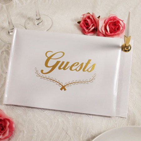 - Gold Reception Guest Book with Pen