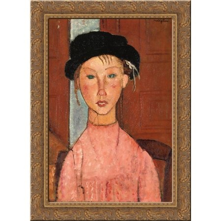 Young Girl in Beret 20x24 Gold Ornate Wood Framed Canvas Art by Modigliani, Amedeo Amedeo Modigliani Framed Canvas