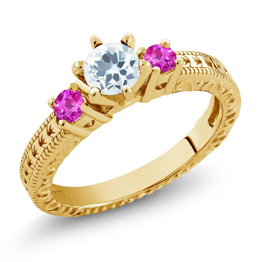 0.71 Ct Round Sky Blue Aquamarine Pink Sapphire 14K Yellow Gold 3-Stone Ring by