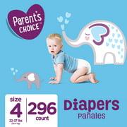 Parent's Choice Diapers, Size 4, 296 Diapers (Mega Box)