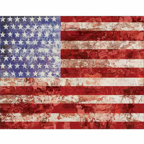 American Flag Paint Texture Patriotic Western Painting Red White & Blue Canvas Art by Pied Piper Creative