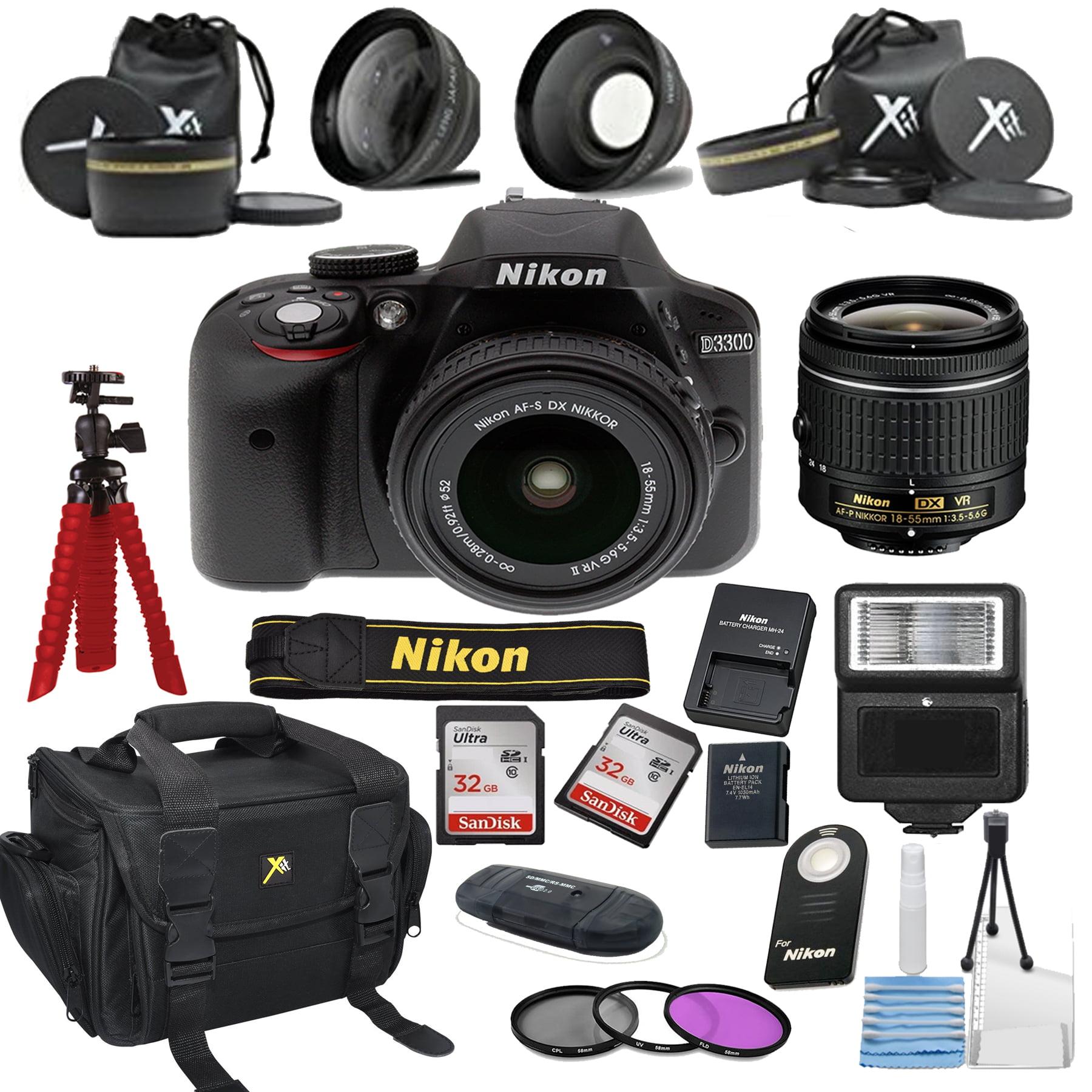 Nikon D3300 24.2 MP DSLR Camera + 18-55mm VR Lens Kit + Accessory Bundle + 2X 32GB Memory + Camera Gadget Bag + Wide Angle Lens + 2x Telephoto Lens + Flash + Remote + Tripod + Filters  + More