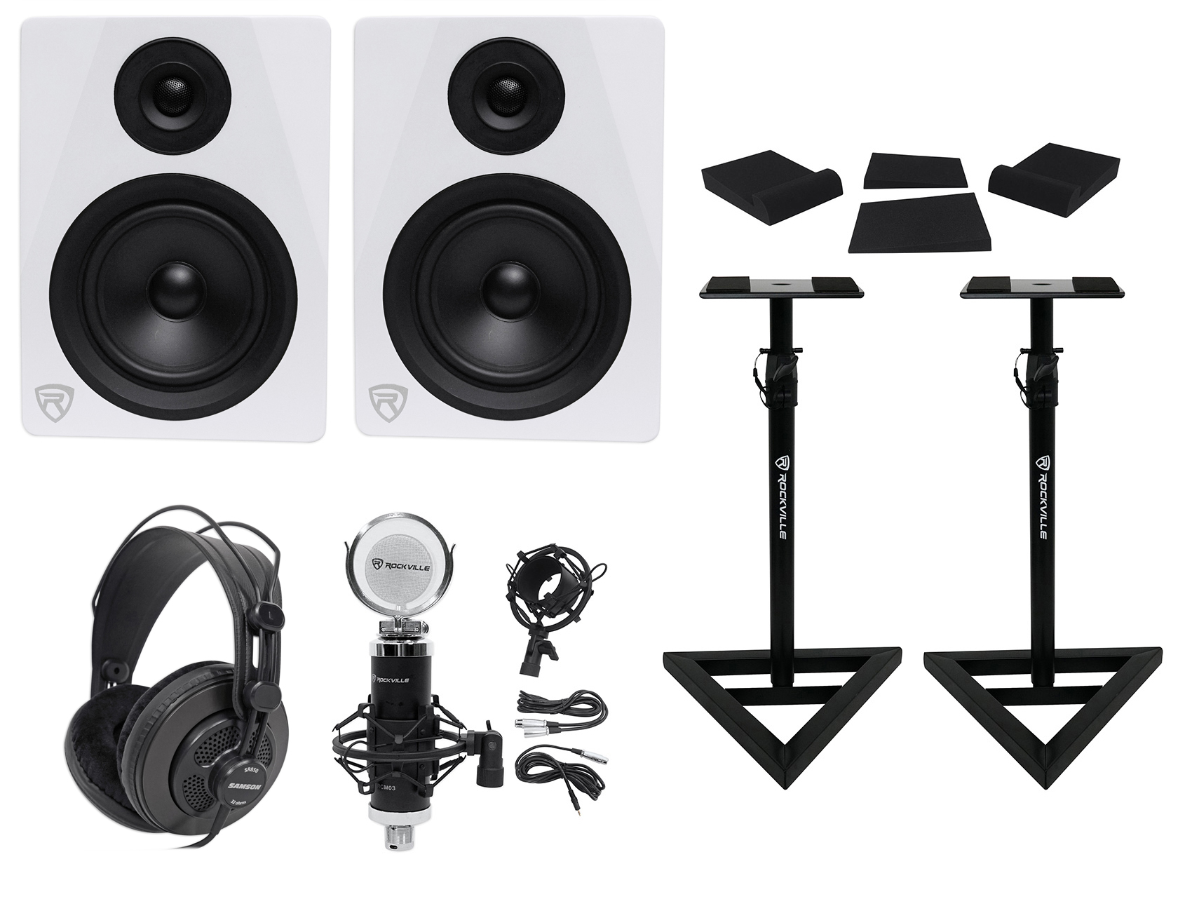 "(2) Rockville DPM5W 5.25"" 300w Dual Active Studio Monitors+Stands+Headphones+Mic by ROCKVILLE"