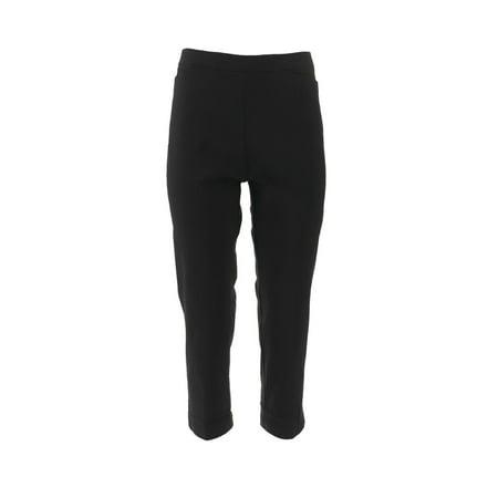 Susan Graver Ultra Stretch Crop Pants Pockets A252350 Black Stretch Cropped Pants