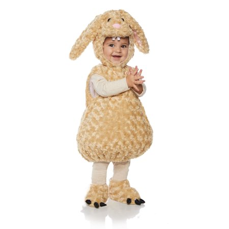 Bunny Girls Toddler Brown Belly Baby Plush Fluffy Animal Costume