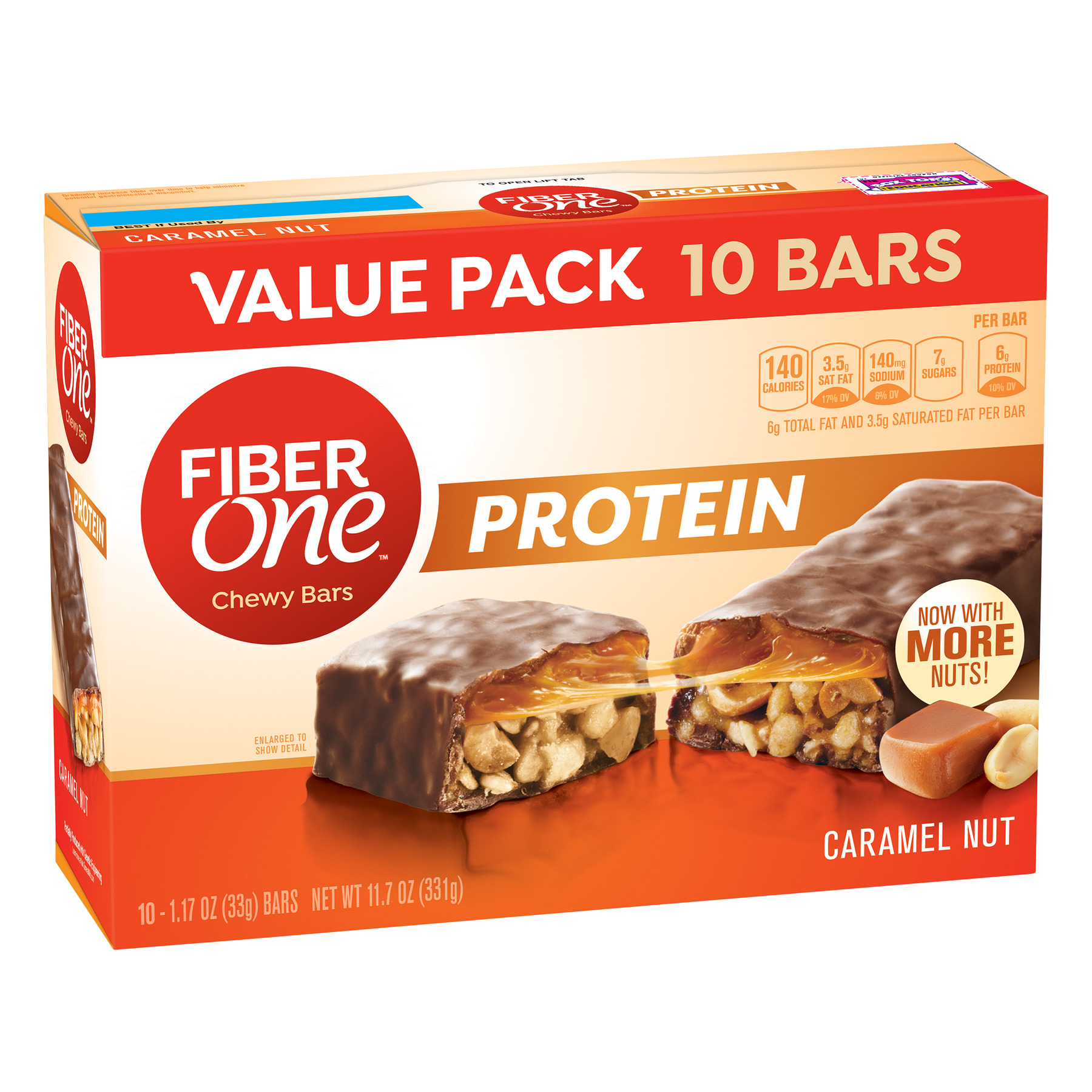 Fiber One Protein Chewy Bar, Caramel Nut, 6g Protein, 10 Ct