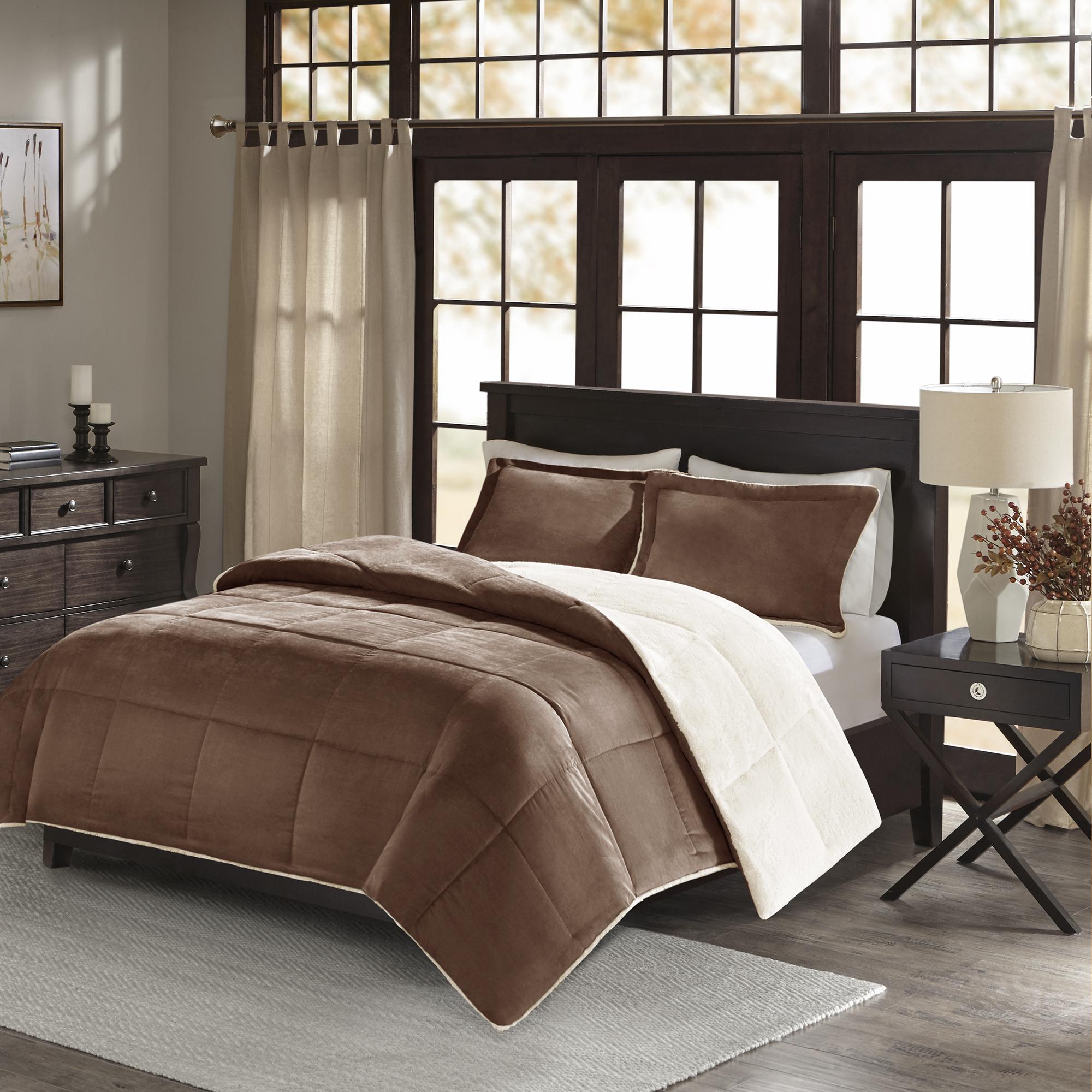 Home Essence Monterey Corduroy Reverse to Berber Comforter Mini Set