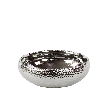 Urban Trends Collection: Ceramic Pot Polished Chrome Finish Silver ()
