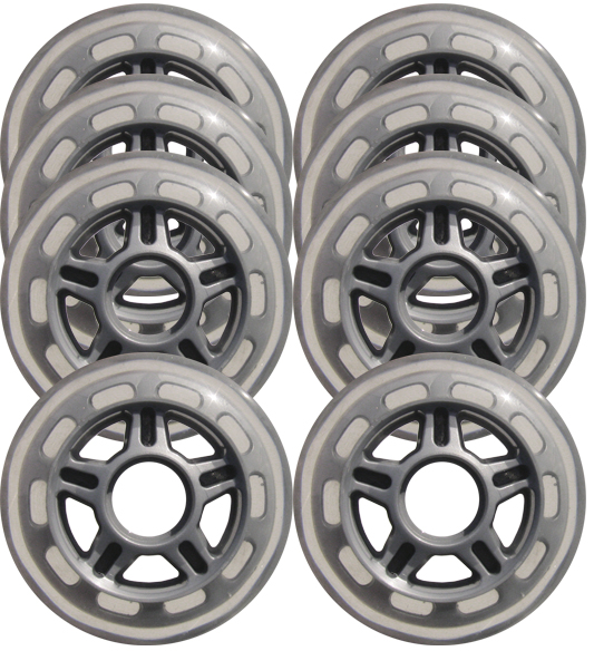 Clear / Silver Inline Skate Wheels 80mm 78a 8-Pack 5-SPOKE HUB