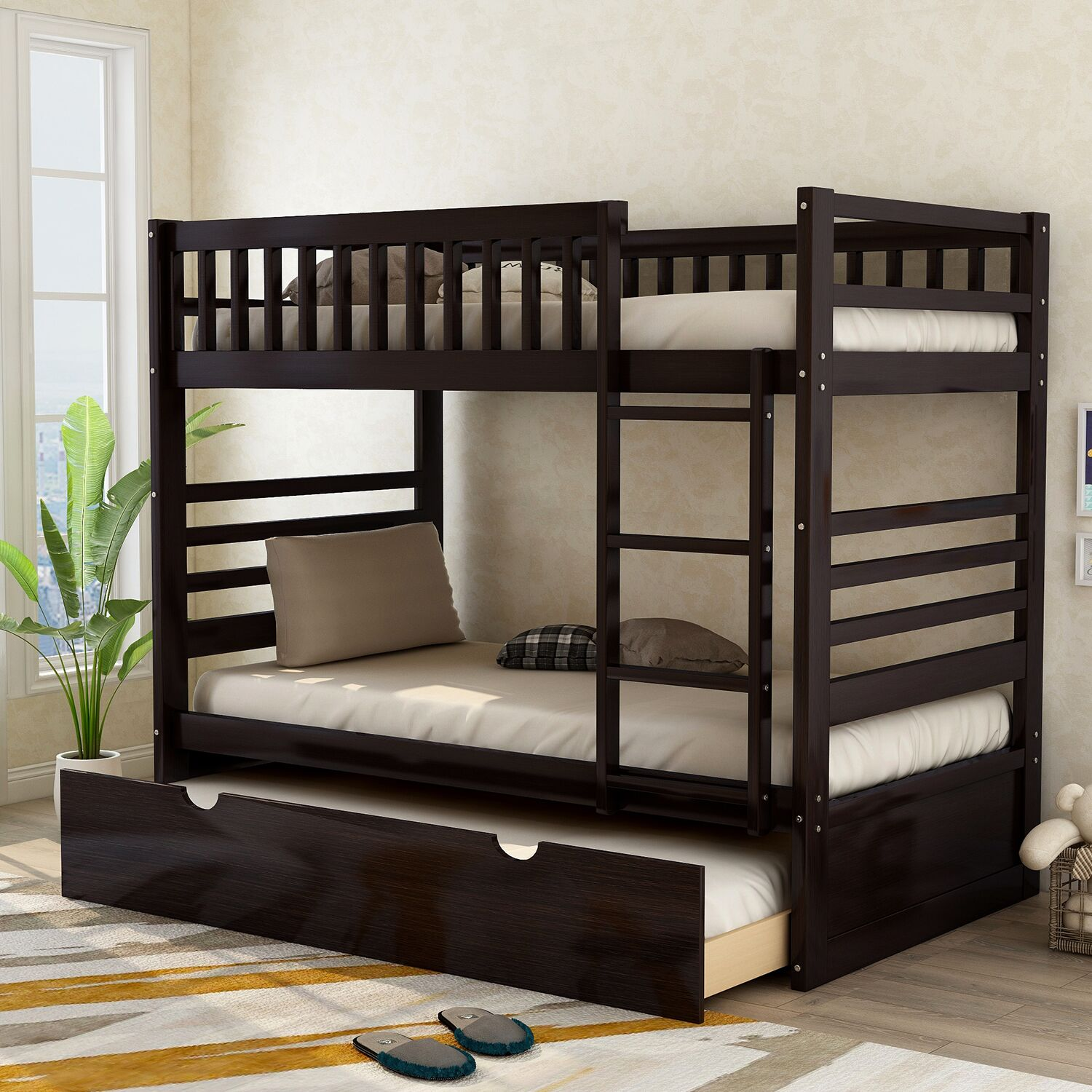 Picture of: Merax Wood Bunk Bed Twin Over Twin With Trundle Espresso Walmart Com Walmart Com
