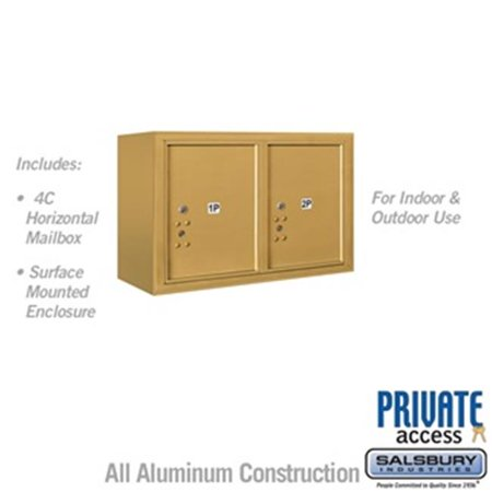 Salsbury 3805D-2PGFP 21-0.125 in. 5 Door High Unit Double Column Stand Alone Parcel Locker 2 PL5s Front Loading Surface Mounted 4C Horizontal Mailbox Unit, Gold - Private Access