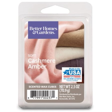 Better Homes & Gardens 2.5 oz Soft Cashmere Amber Scented Wax Melts,