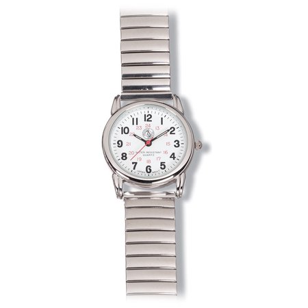 Prestige Medical Nurse 24 Hour Chrome Expansion Band Watch, New 1631