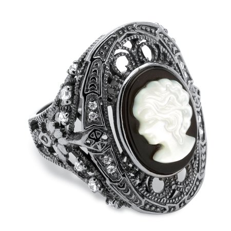 Porcelain Cameo Ring - Onyx and Mother-of-Pearl Cameo and Cubic Zirconia Cocktail Ring in Black Rhodium-Plated