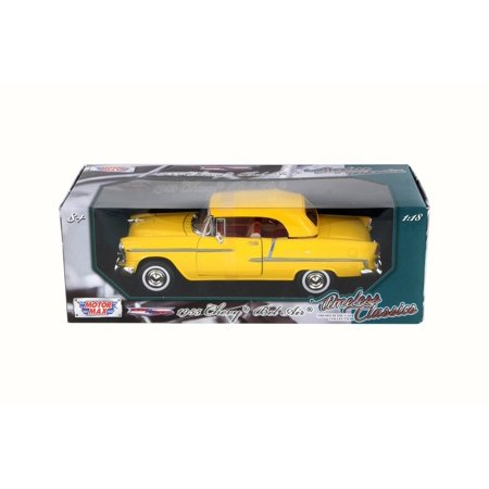 1955 Chevy Bel Air Closed Convertible, Yellow - Motor Max 73184TC - 1/18 Scale Diecast Model Toy Car