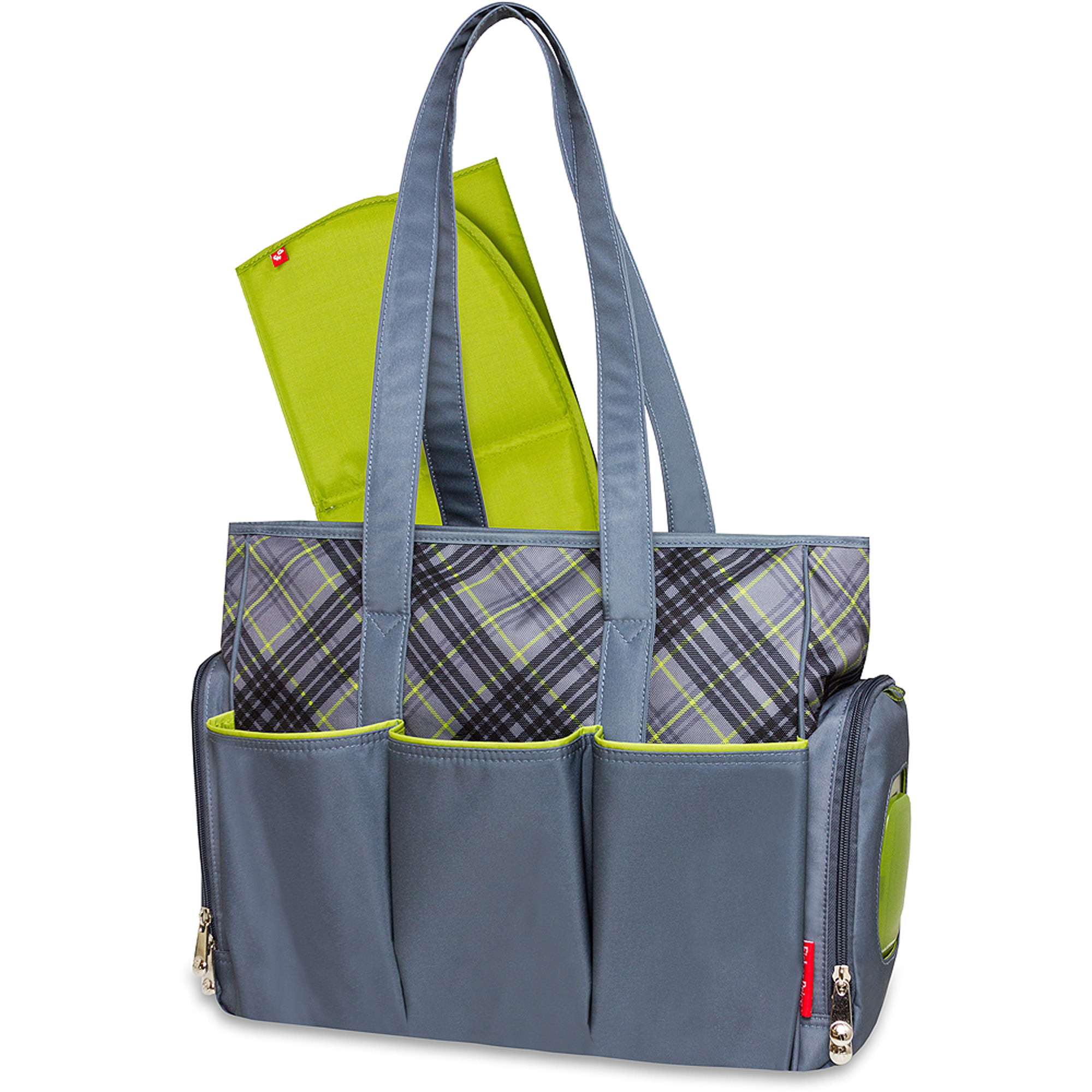 Fisher-Price Tote Diaper Bag with Fastfinder Pocket System, Plaid