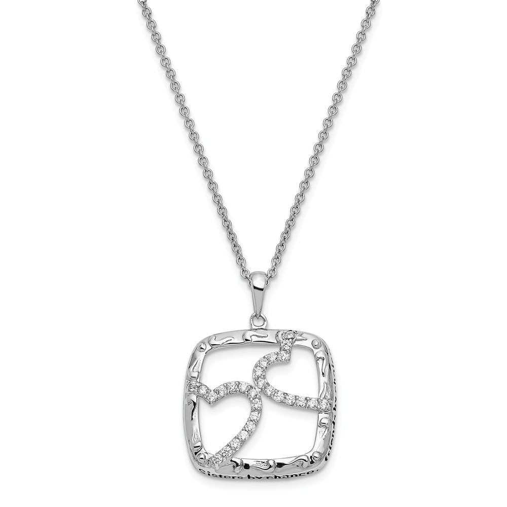 Sterling Silver Antiqued CZ Sisters By Chance 18in Hearts Necklace.