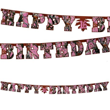 Pink Camo Happy Birthday Banner Party Supplies, Cardboard Cutout letters spelling Happy Birthday strung together. By Havercamp