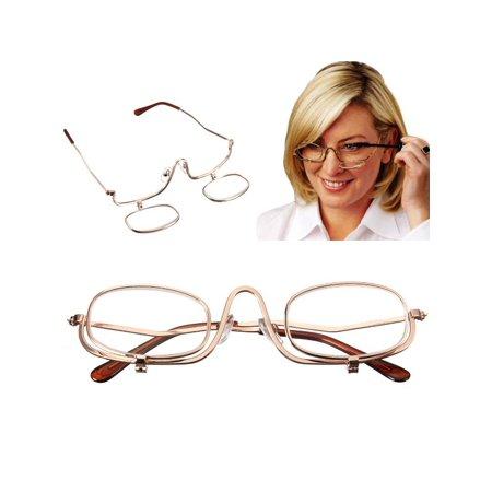 bac0cc9106 Magnifying Makeup Reading Glasses +2.5 Fold Flip Down Eyelashes Eye  Spectacles - Walmart.com