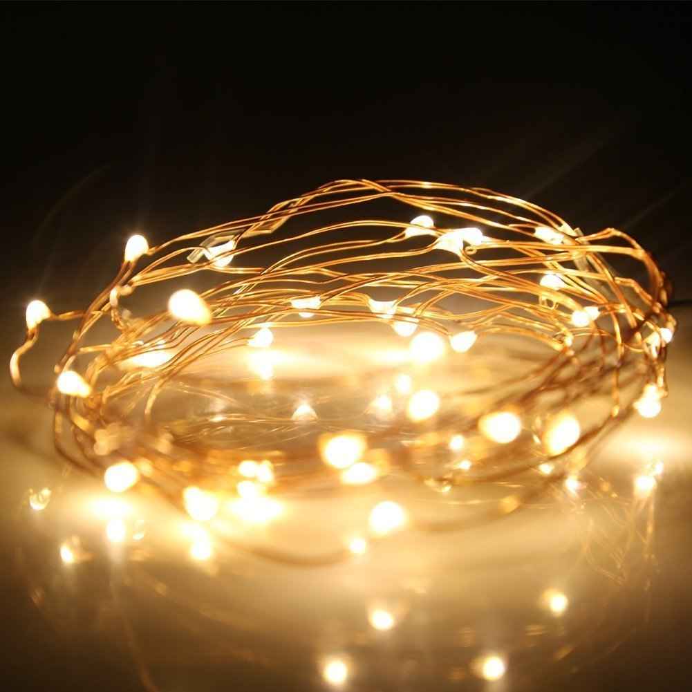 Kohree 60 Micro LEDs String Decor Rope Light Battery Powered on 10ft Ultra Thin String Copper Wire with Timer Holiday