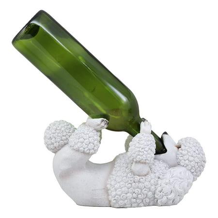Ebros Lifelike Purebreed Pedigree Canine Adorable White French Poodle Dog Wine Bottle Holder Figurine Statue As Kitchen Wine Cellar Centerpiece Decor Storage Organizer Puppies Pet Dogs Sculpture