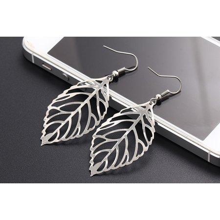 1 Pair Women Anti-allergy Alloy Earrings Leaf Shaped Ear Studs Jewelry Gift, Alloy Ear Studs (Leaf Earrings Studs)
