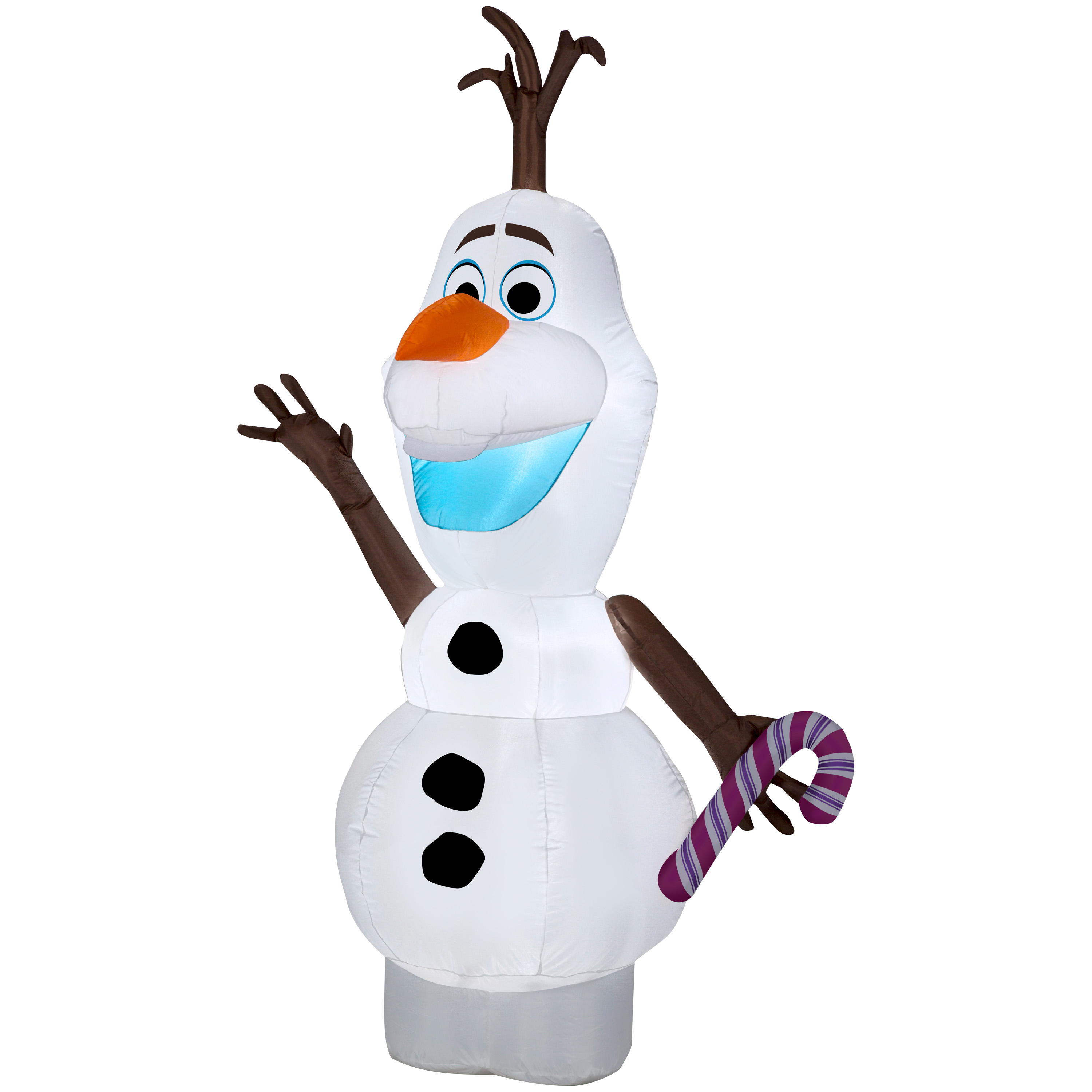 Image of Airblown Christmas Inflatable Olaf w/ Candy Cane 5.5' Tall