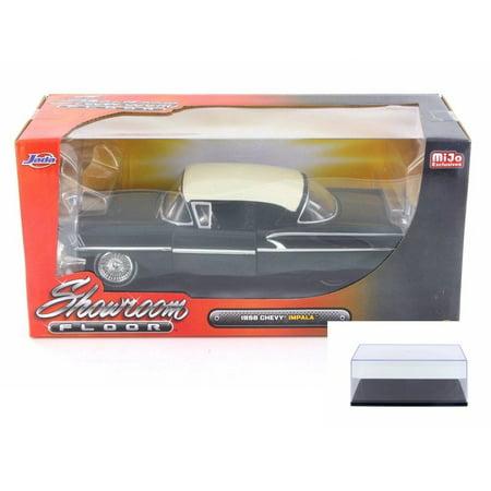 Diecast Car & Display Case Package - 1958 Chevy Impala SS Showroom Floor, Black - Jada 98895-MJ - 1/24 Scale Diecast Model Toy Car w/Display Case 1958 Chevy Impala Hood