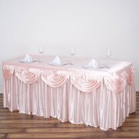 Efavormart Satin Double Drape Table Skirt Table Covers For Rectangle Or Round Tables 17Ft