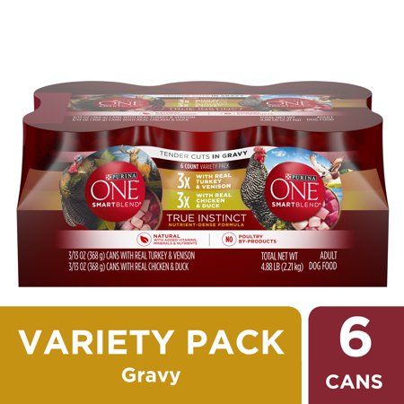 (12 Pack) Purina ONE Natural Gravy Wet Dog Food Variety Pack, SmartBlend True Instinct Tender Cuts, 13 oz. Cans