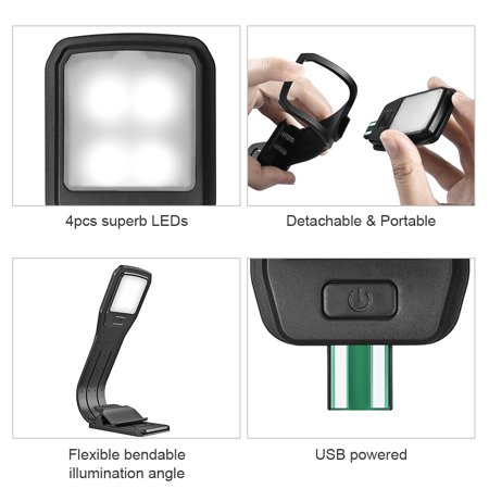 DC5V 4LED Reading Book Light Lamp USB Powered Operated 4 Levels Adjustable Brightness Dimmable Flexible Bendable Illumination Angle Built-in 300mAh High Capacity Rechargeable Battery for Students Stud - image 1 de 7