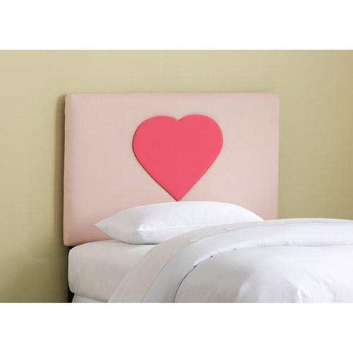 Skyline Furniture Upholstered Heart Headboard, Full, Lt. Pnk/Fr. Pnk