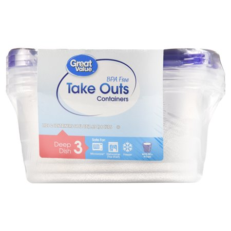 (2 pack) Great Value BPA Free Take Out Containers, Deep Dish, 3
