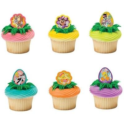 Looney Tunes Party Supplies (Looney Tunes Easter Friends Cupcake Rings - 24 Rings - National Cake)
