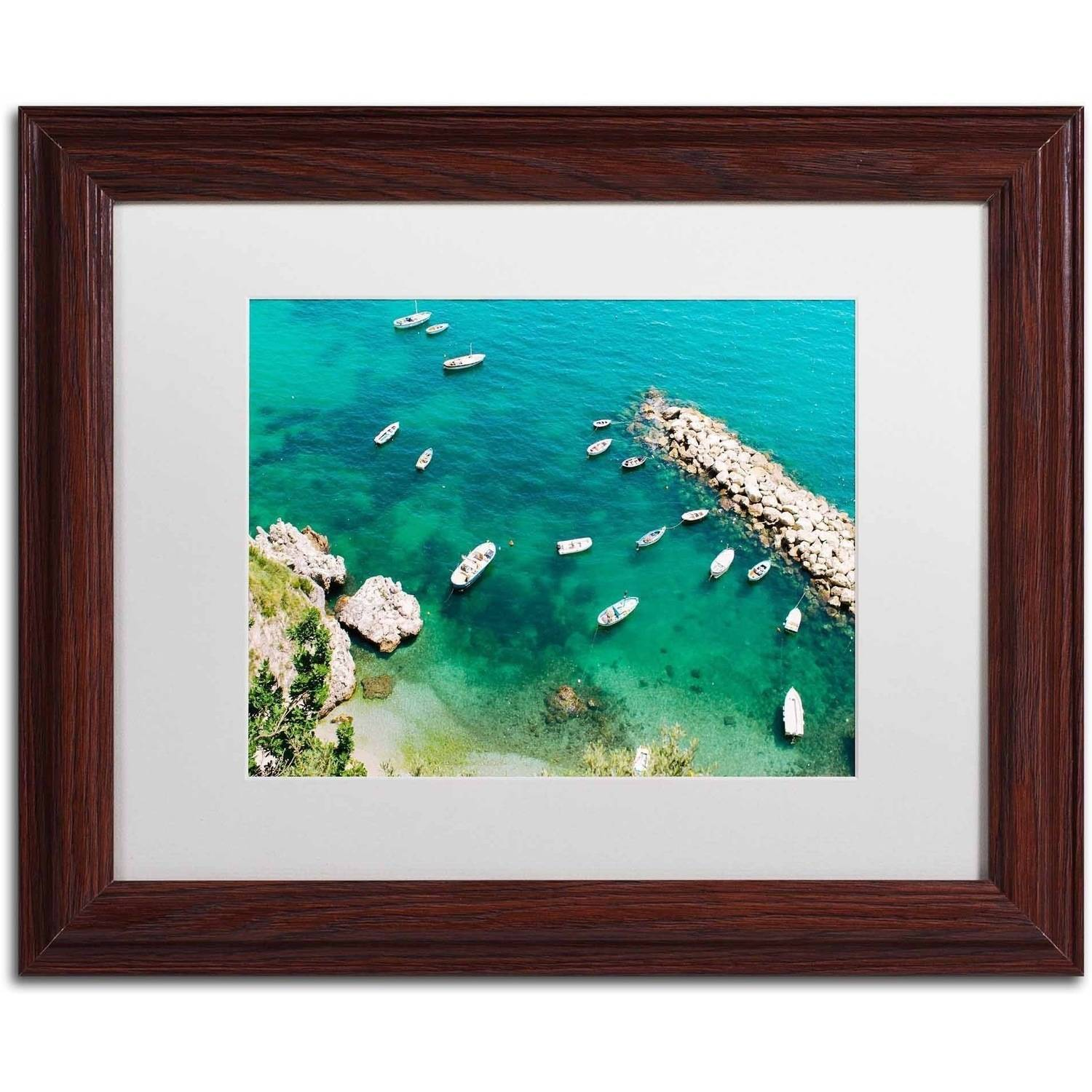 Trademark Fine Art 'Italian Docks' Canvas Art by Ariane Moshayedi, White Matte, Wood Frame