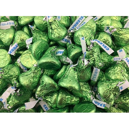 Chocolate Birthday Tin (Hershey's Kisses Birthday Milk Chocolate Candy, Celebrate Green Foil (Pack of 2 Pounds) )
