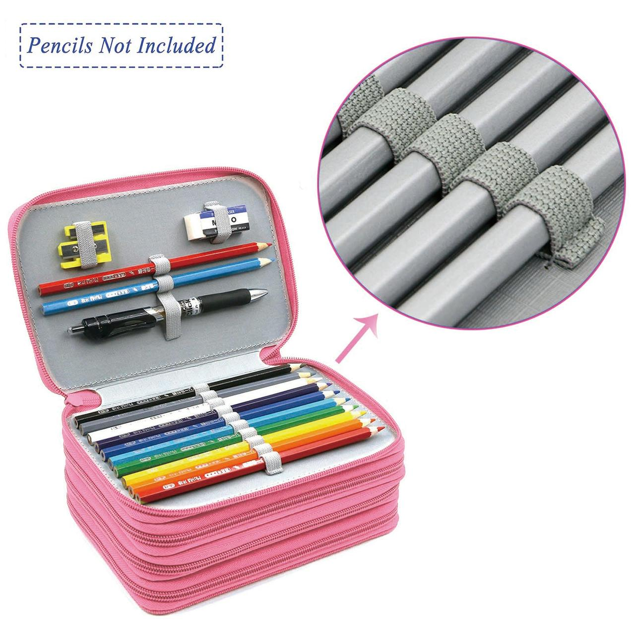 4 Layers 72 Slots High Capacity Pencil Brush Case Box Pen Pouch Bag Makeup Storage Bag(Pink)