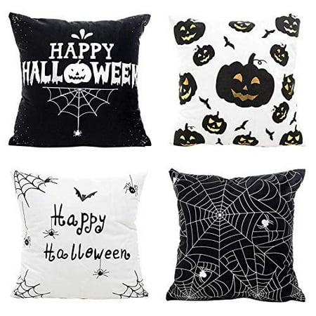 RYLABLUE Set of 4 Pillow Cases Happy Black and White Bat Pumpkin Winter Horror Simple Modern Spider Throw Pillowcase Cover Cushion Case Home Decor - image 1 de 1